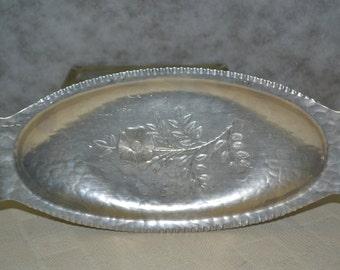"Continental Silver Co. aluminum bread tray from the 1950s, Wild Rose pattern. Brilliantone 1071. 13.5"" x 6"" x .5"""
