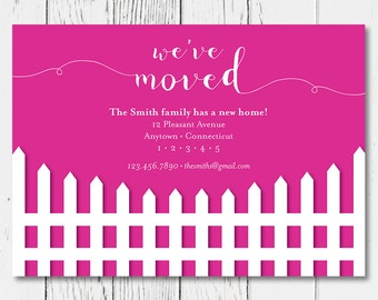 Moving Announcement - White Picket Fence, Personalized with your new address and color of your choice