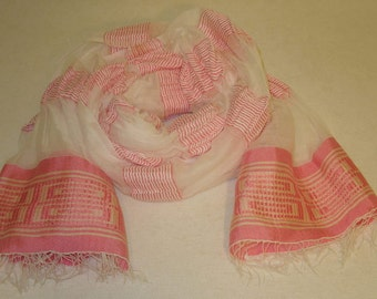 Women's 100% Handwoven Sheer Ethiopian Snow White Cotton Scarf with Pink and Cream Colored Decorative Border