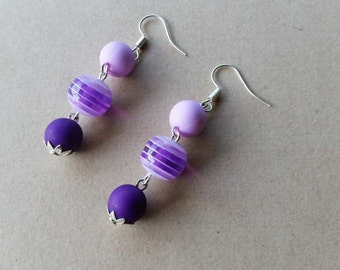 Dangling earrings from the Czech beads of three colours: pink -  purple rose striped - purple and metallic parts