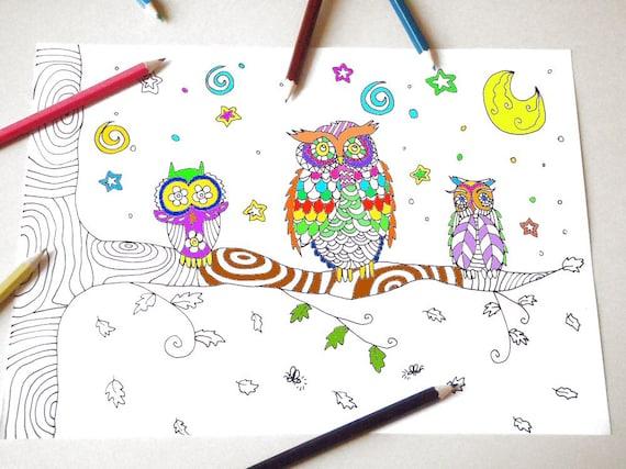 Gufi pagina da colorare per bambini e adulti albero ramo bosco - Lederhosen pagina da colorare ...