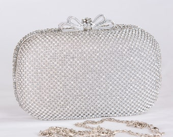 SILVER Crystal Clutch, Vintage Wedding Accesories, Bridal Silver Clutch with Crystal Accent, Bridal Evening Bag ,Prom Clutch73