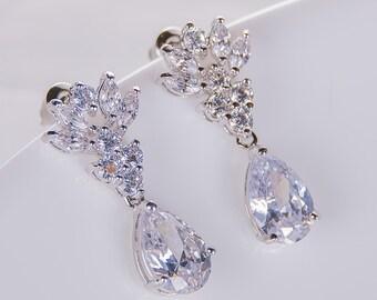 Crystal Wedding Earrings Zirconia Earrings Wedding Jewelry Bridesmaid Earrings Bridesmaid Accessories Dangling Teardrop Earrings stl173