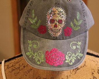 Sugar Skull Hat in Glitter Vinyl and Rhinestones