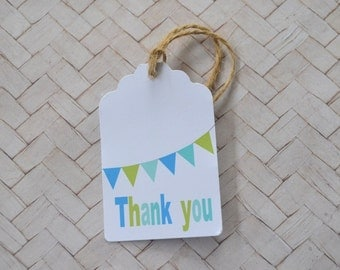 Blue and Green Bunting Thank you Tag