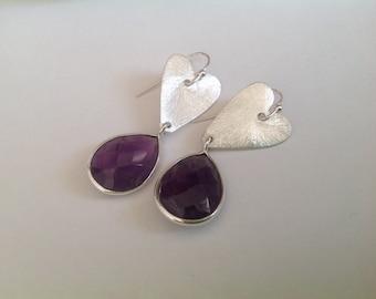 Amethyst Earrings. Silver,  Heart, Drop, Genuine Gemstone