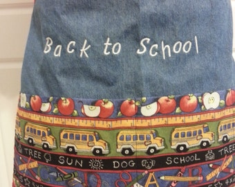 Embroidered Back to School Teacher Half Apron