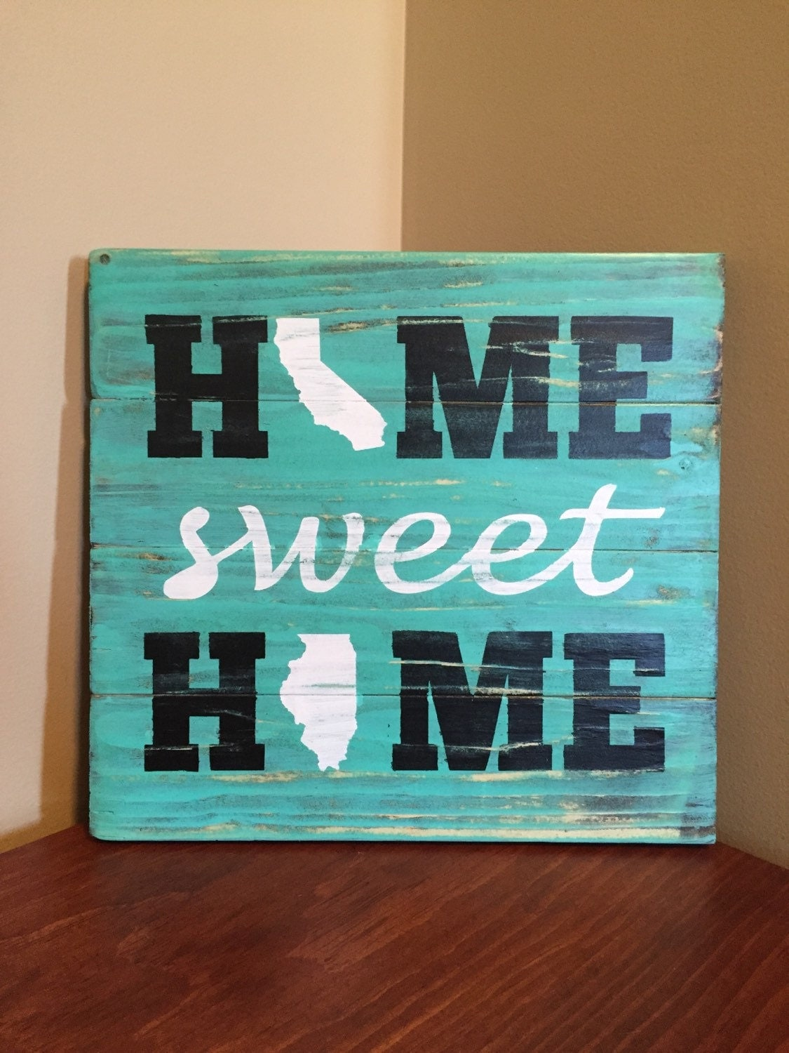 Home sweet home wood sign home sign with state two states - Home sweet home decorative accessories ...