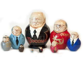 Nesting dolls Yeltsin and other Russian Political leaders matryoshka z2