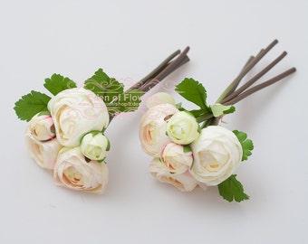 2 Bunch Light Pink Silk Ranunculus faux flowers for Wedding Bouquets, Home Decoration, Centerpiece, Permanent Botanical Arrangement