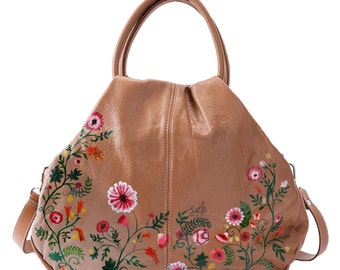 Hand Painted Fine Grain Leather Purse - Sebille Wild Flowers Brown Purse by Lyria.ro