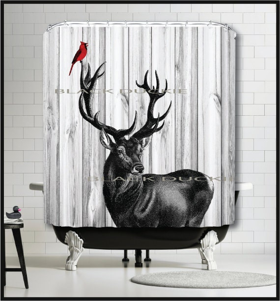 Black Deer Red Cardinal Shower Curtain Deer Stag By