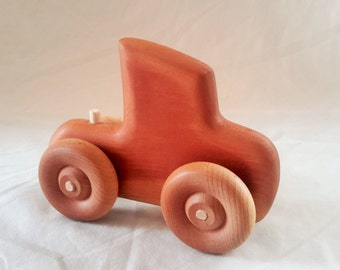 Wooden Toy Semi Truck Made of Cherry