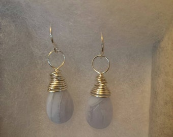 Mystic Quartz and Silver Drop Earrings