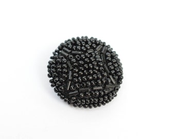 Large 28 mm Vintage Black Seed Beads Hand Beaded Coat Buttons. Craft Supply.