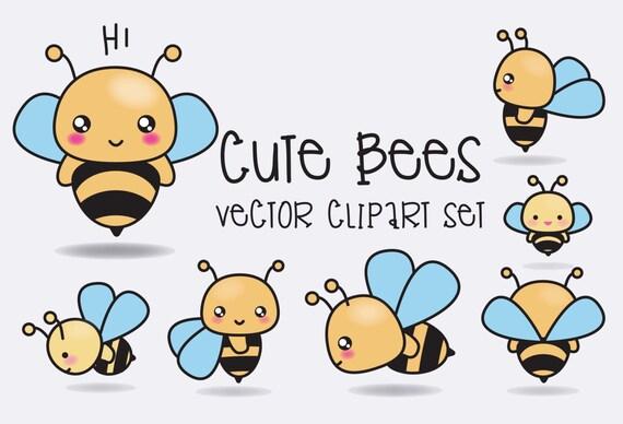 Premium Vector Clipart Kawaii Bees Cute Bees Clipart Set