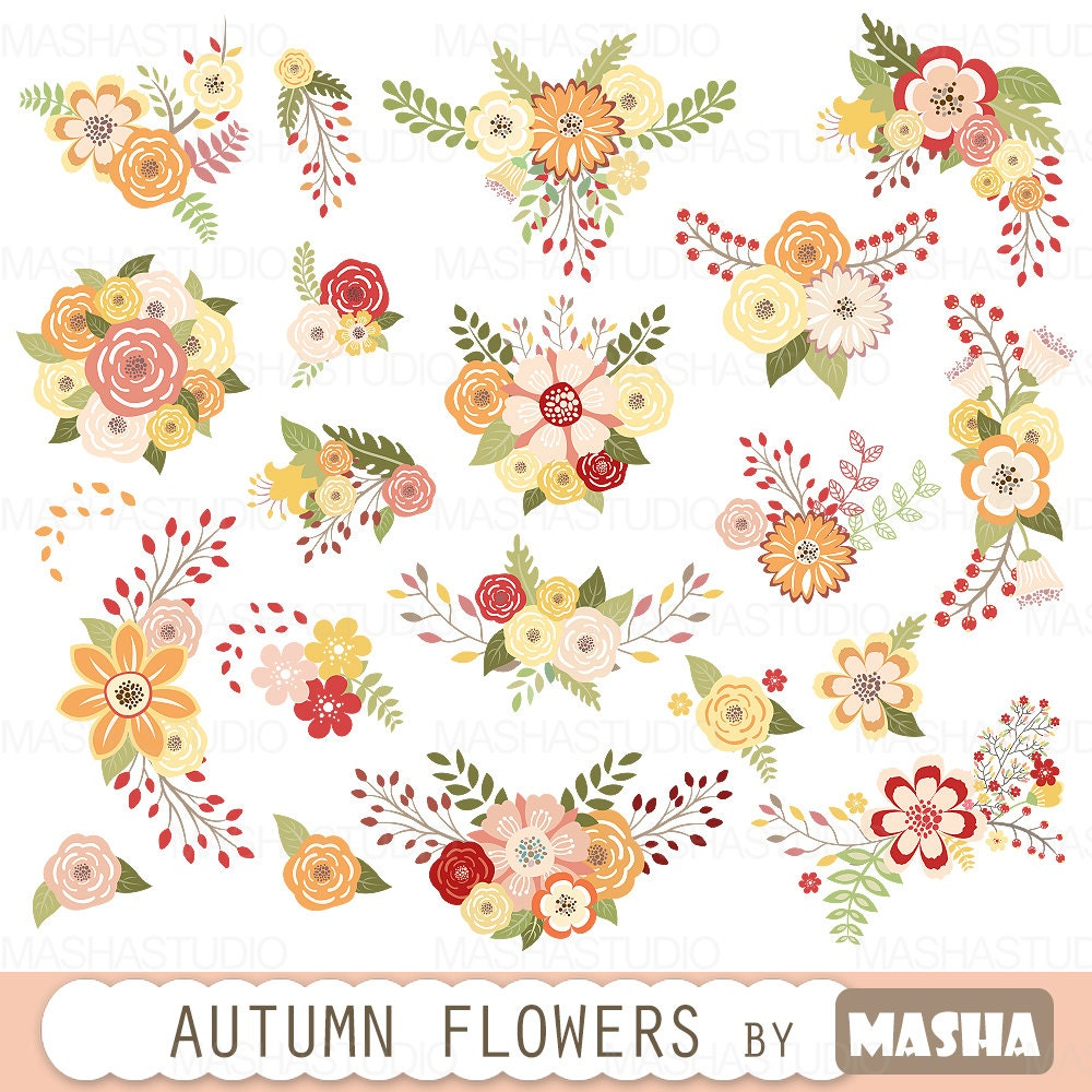 Autumn flowers clipart: AUTUMN FLOWERS with fall