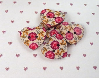Heart buttons packs of 5