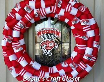 Go Badgers! Wisconsin Badger wreath,, football wreath, college wreath, Wisconsin wreath, Wisconsin decor, badger wreath, badger decor