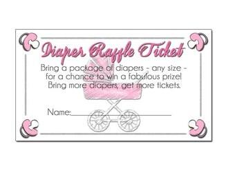 baby girl diaper raffle ticket, baby shower diaper raffle, diaper raffle printable, diaper raffle cards, diaper raffle insert