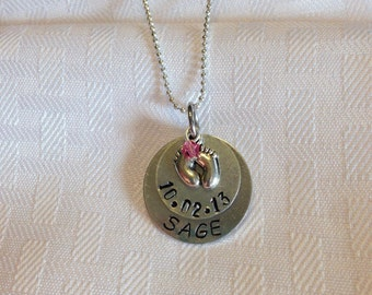 Beautiful handmade metal stamped necklace for new baby!
