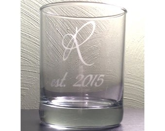 2 Monogrammed Established Year, Etched Double Old Fashioned Glass, Personalize, Custom