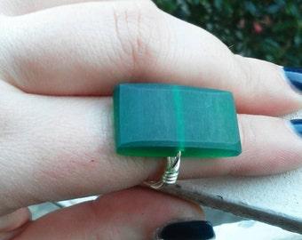 Emerald Green Ring-  Geometric Ring - Matte Minimalist Resin ring - Ring size 5-12 available. Rectangular Green Ring - SIlver & Emerald Ring