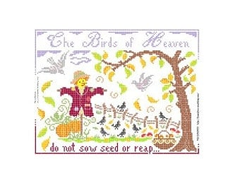 "PDF Cross stitch Chart ""The Birds of Heaven... Autumn"""