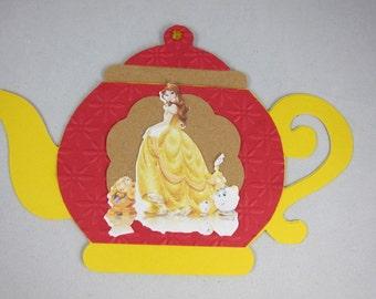 Set of 12 Tea Party Invitations, Tea pot Princess Belle, Beauty and the Beast Inviatations