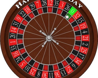 Roulette Wheel Personalised Pre Cut Icing/Rice Paper Cake Topper 7.5""