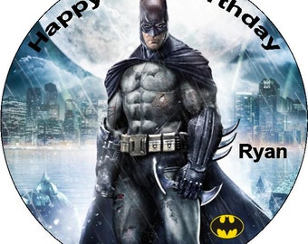 Batman Personalised Pre Cut Icing/Rice Paper Cake Topper 7.5""
