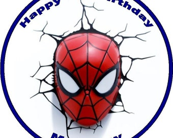Spidermans Face Personalised Icing/Rice Paper Cake Topper 7.5""