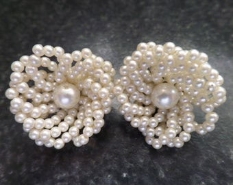 Vintage Seed Pearl Floral Clip On Earrings Free postage