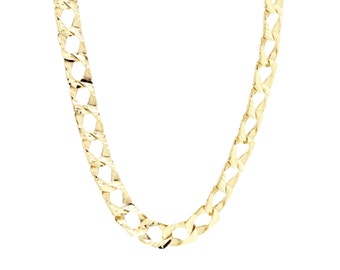 Diamond Cut Gold Necklace Yellow Gold Statement Necklace 10K Gold Chain Italian Gold Chain Diamond Cut Chain in 10K Yellow Gold - 20 Inches