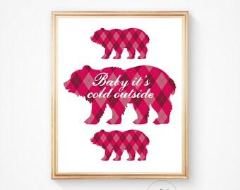 Printable art Christmas Printable BABY it's COLD OUTSIDE  Polar bear print, pink, animal art print, Printable art, Holiday art