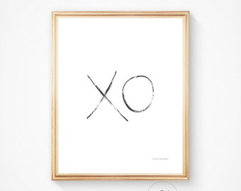 xo PRINTABLE ART XO print, Print with x o in typography. Hand drawn print, Kiss print, Romantic art printable, Love printable, Love art