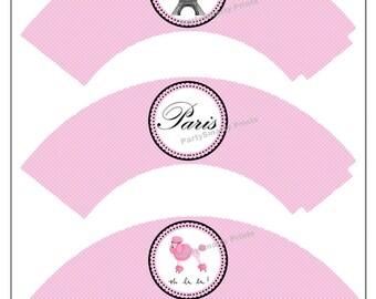 Paris Cupcake Wrappers – Digital Download – Paris Party