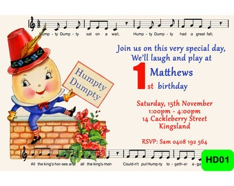 Humpty Dumpty Invitation - Digital Personalized Invite - Humpty Dumpty Party Invite