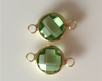 2 pc Olive green Round Facted Glass Bezel Gemstone Connctor - Polished Gold Plated over Brass - 10mm