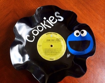Cookie Monster Record Bowl, vinyl record platter, cookie tray, Sesame Street Record