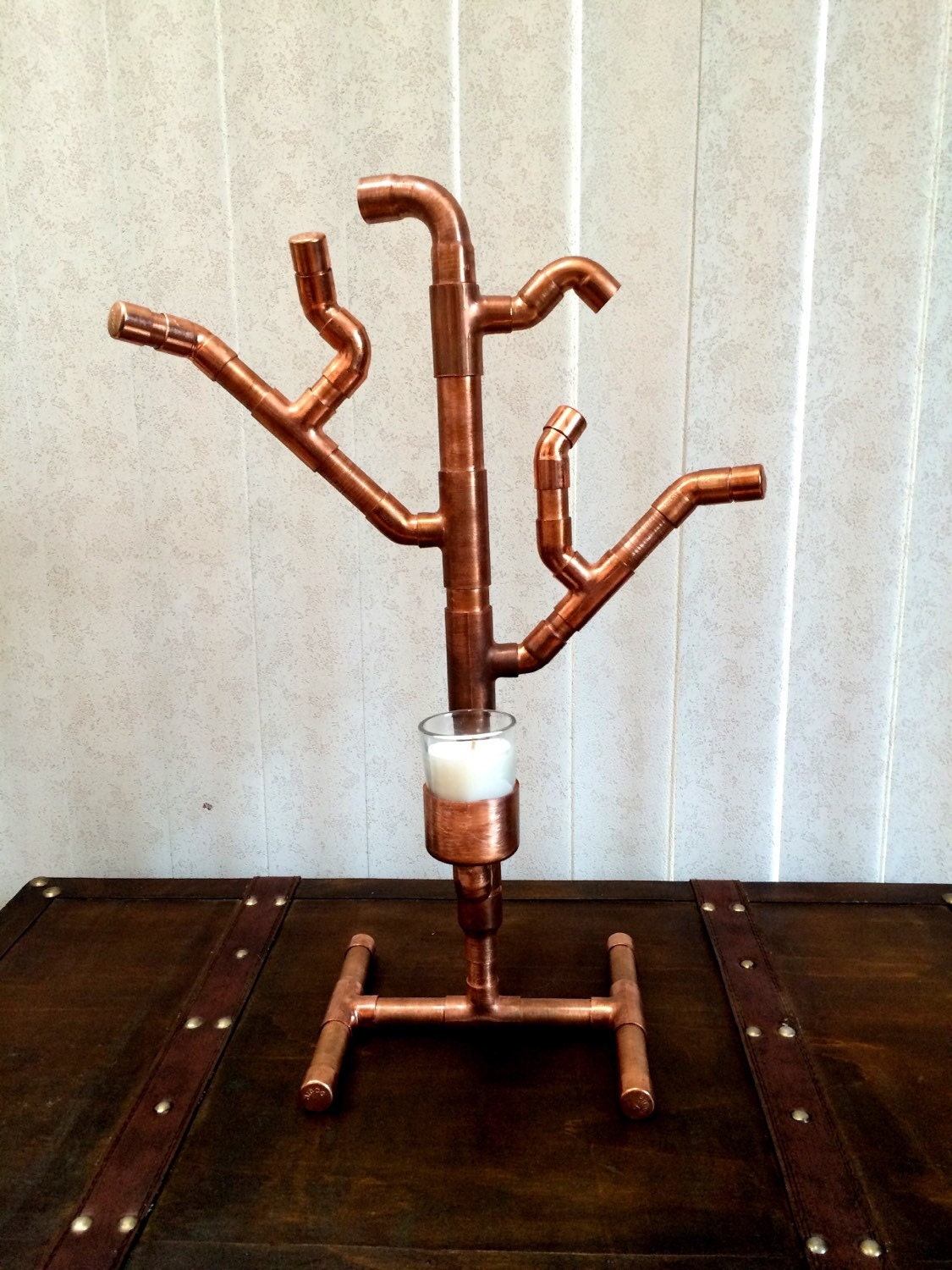 Copper Pipe Tree Votive Candle Holder Steampunk Industrial