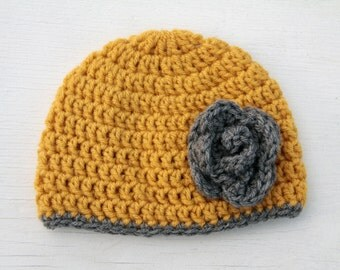 mustard and grey flower hat/photo prop