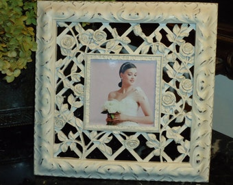 Vintage Shabby Chic Style, Rose Photo Frame, 3.5 by 3.5 inch Photo