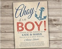 Nautical Baby Shower Invitations Navy Red Stripes Summer Theme Party Navy Blue Anchor Vintage Ahoy its a Boy Invitations Digital NV205