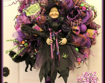 Witch Wreath, Halloween Wreath, Halloween Witch Wreath, Witch Decoration, Door Wreath, Holiday Wreath, Deco Mesh Wreath