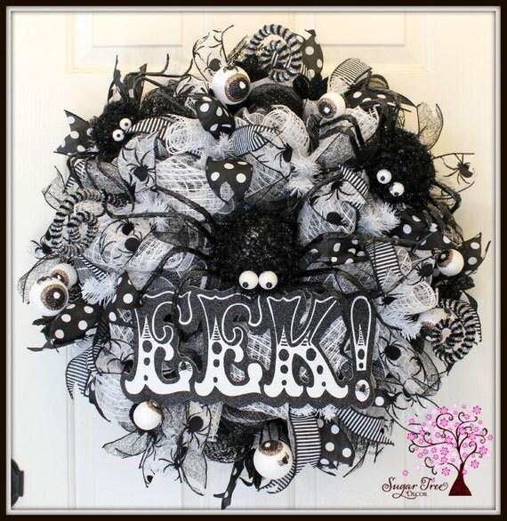 Halloween Wreath, Spider Wreath, Eek Wreath, Door Wreath, Holiday Wreath, Deco Mesh Wreath, Eye Wreath, Black and White Wreath