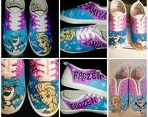 Frozen Hand Painted Custom Shoes - Elsa and Olaf Painted Shoes - Frozen Elsa Custom Shoes for Children