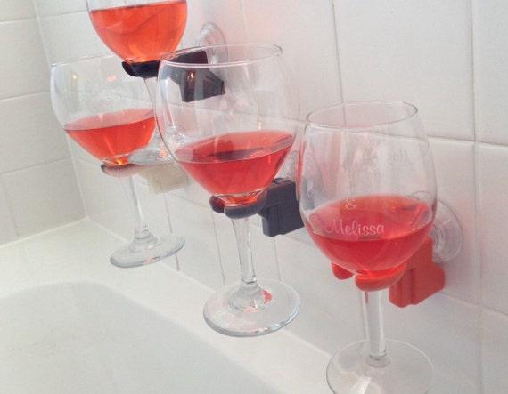 Bathtub shower wine glass holder pick your color by SOLIDink3d