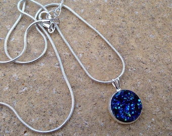 Faux Blue Sparkly Druzy Snake Chain Necklace