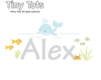 Whale Name Wall Decal-Coral Wall Decal-Fish Wall Decal-Ocean Wall Decal